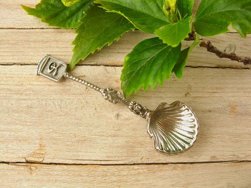 Camino scallop shell spoon ~ featuring the lucky Indalo of Spain . . a totally unique gift, full of meaning