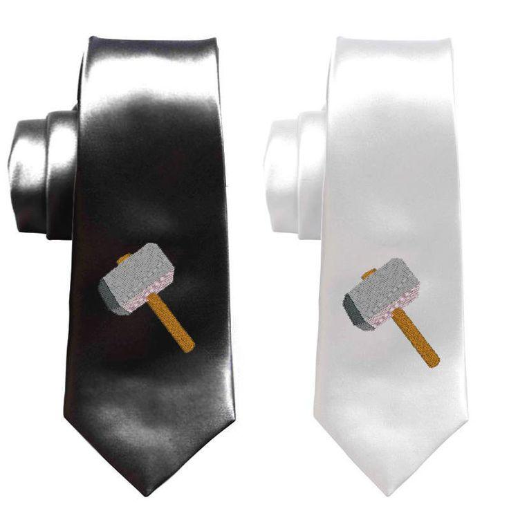 Thor superhero necktie, mens skinny tie, avengers ties, comic book geek weddings accessories suits, superheroes - pinned by pin4etsy.com