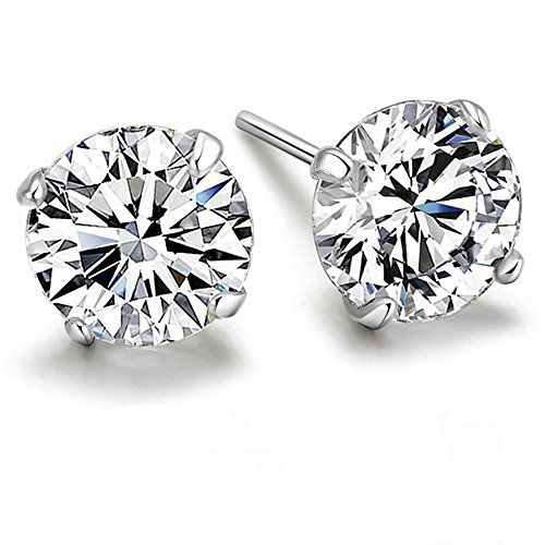 Winter's Secret 925 Sterling Silver Four Claw Stud Earring Men and Women Set 3A White Zircon Jewelry 4MM * You can get additional details at the image link.