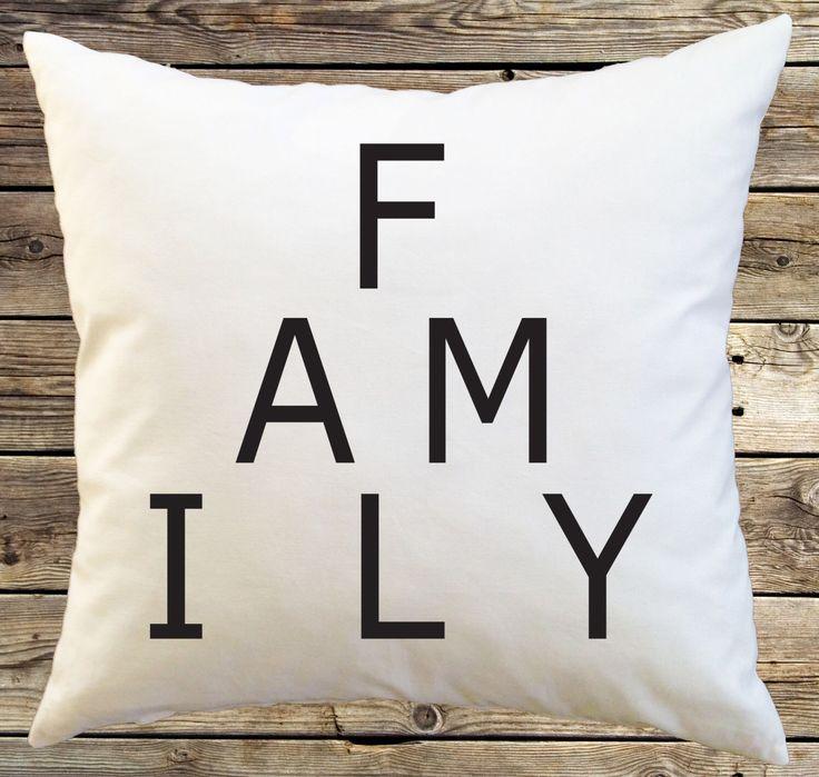 Family Pillow Cover; Black White Cotton Pillowcase; Minimalist; Pillow Case; Throw Pillow; Family Room Decor; Bedding; Typography by AnnieNetLane on Etsy https://www.etsy.com/listing/267853239/family-pillow-cover-black-white-cotton