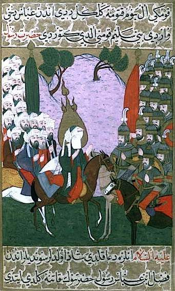 Mohammed and his followers having a rendezvious with soldiers, from the 1595 illustrated edition of the Siyer-i Nebi. Topkapi Palace Museum, Istanbul, Turkey.