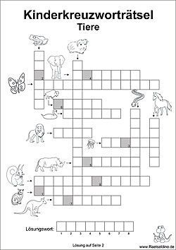 Kinderkreuzworträtsel – #Kinderkreuzworträtsel #schule – Randy