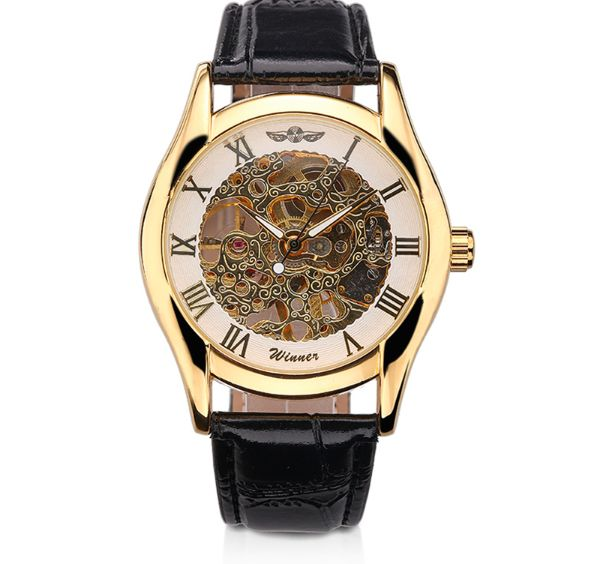SLICK NATION Automatic Mechanical Skeleton Wristwatch (Beige Dial)