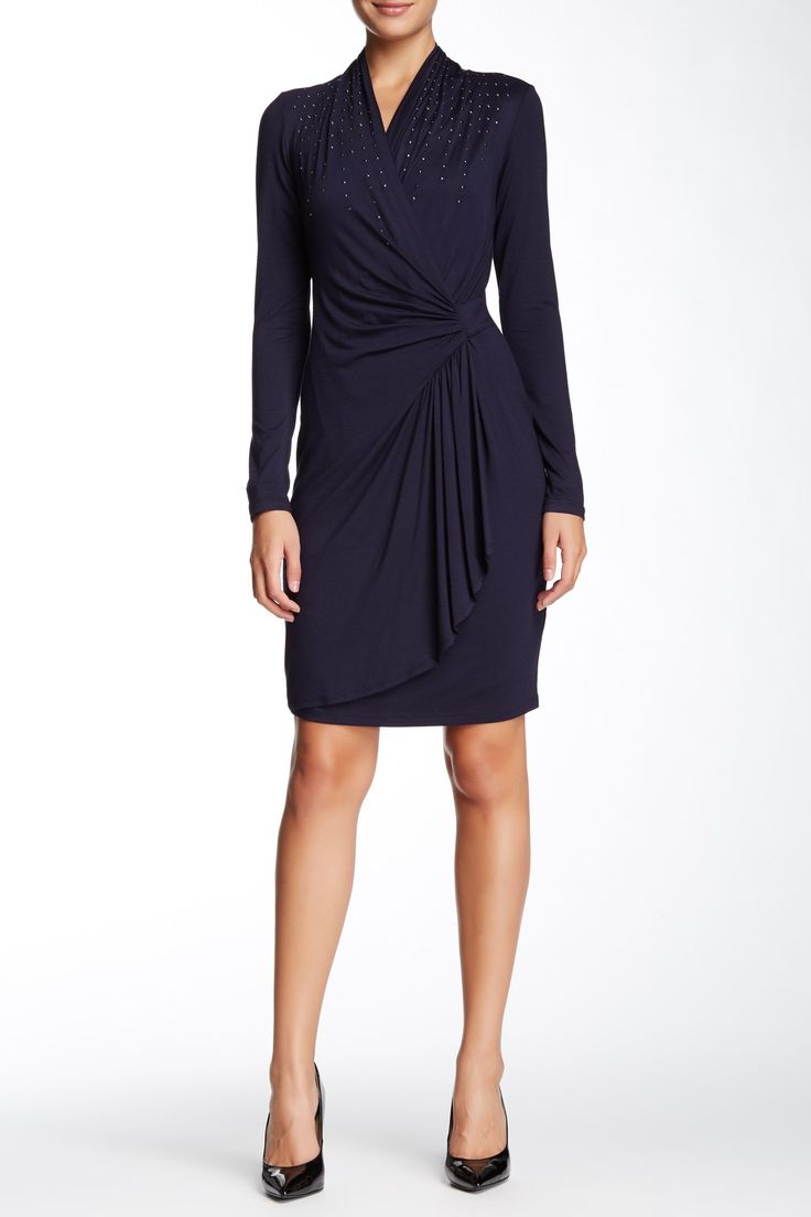 Karen Kane Studded Cascade Wrap Dress Wrap Dresses