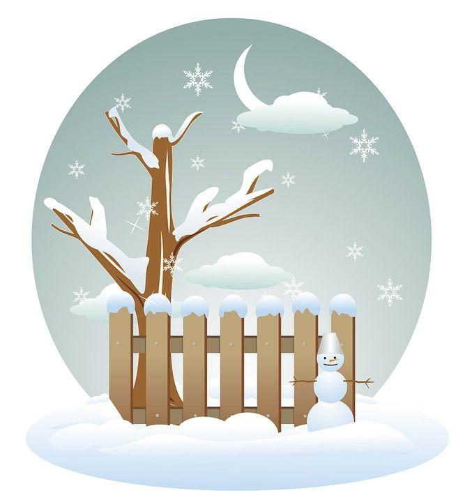 Zima, Drzewo, Płot, Śnieg, Płatki Śniegu, Snowman, Noc