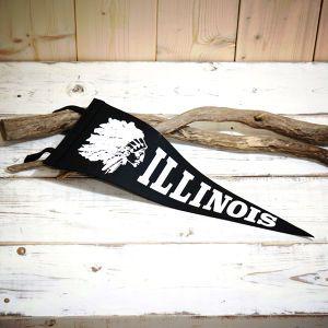 """Good Old Pennant/グッドオールドペナント """"ILLINOIS""""  #アメリカン #ペナント #ヴィンテージ #レトロ #ネイティヴアメリカン #インディアン #カレッジ"""