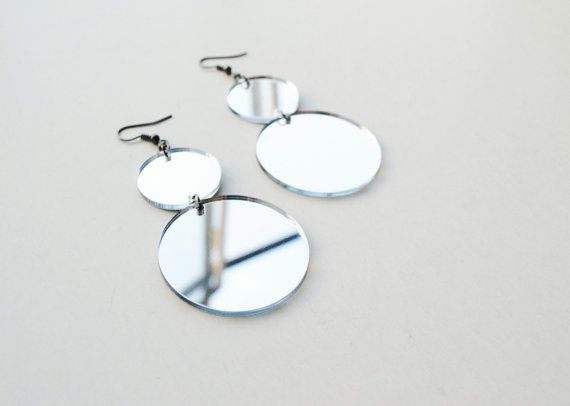 Mirror earrings mirror acrylic earrings circle by elfinadesign