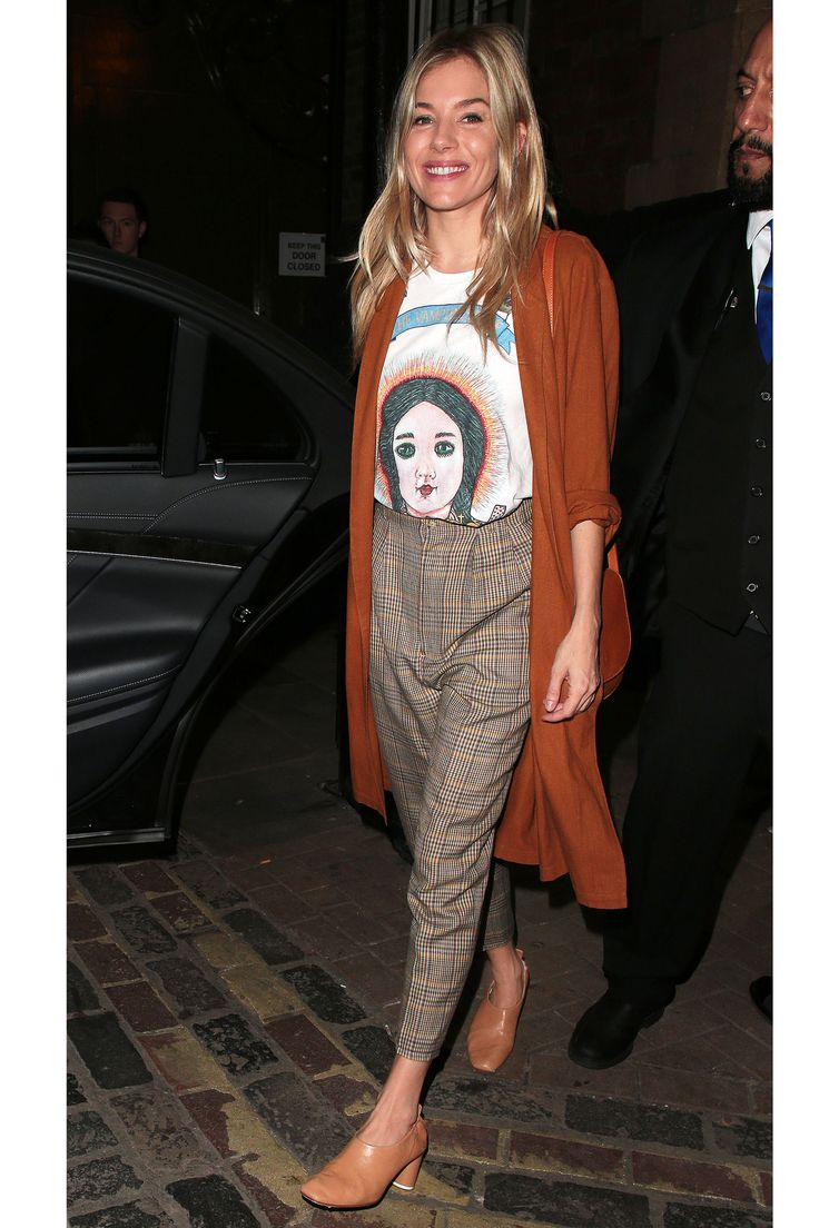 In The Vampire's Wife Graphic T-Shirt, A Long Cardigan Plaid Trousers And Gray Matters Shoes - In London, 2017