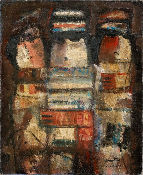 Fateh Moudarres: The Family, oil on canvas