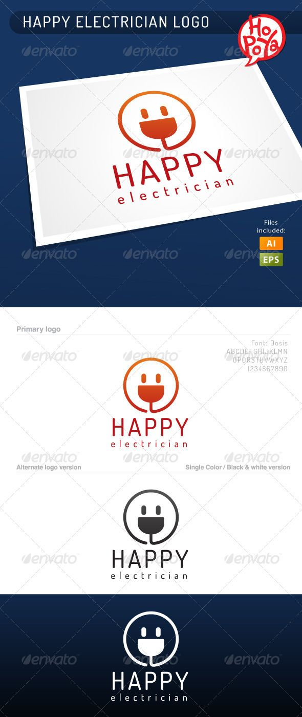 Happy Electrician Logo #GraphicRiver Happy Electrician logo template for your business works.