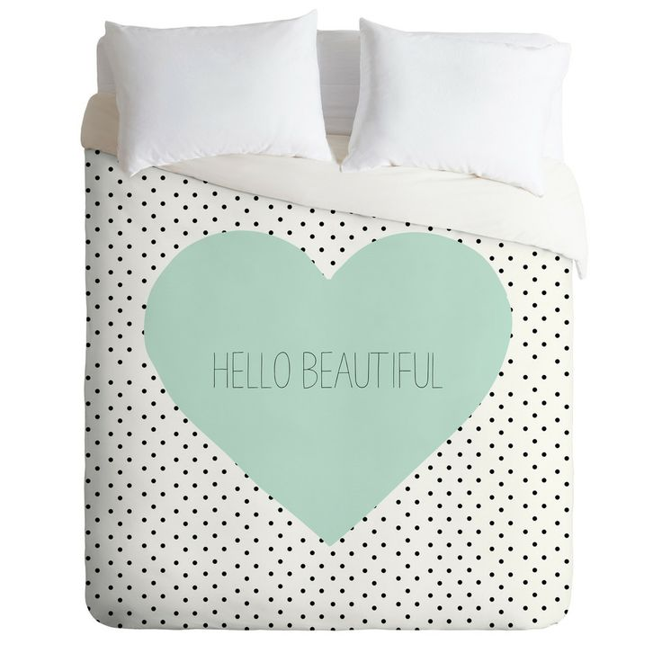 HELLO BEAUTIFUL HEART Duvet Cover By Allyson Johnson $ 189.00