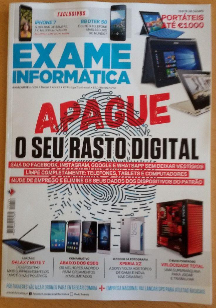 Já disponível na área de leitura informal - secção de periódicos da BESAF - a edição de outubro de 2016 da revista Exame Informática. Boa leitura!