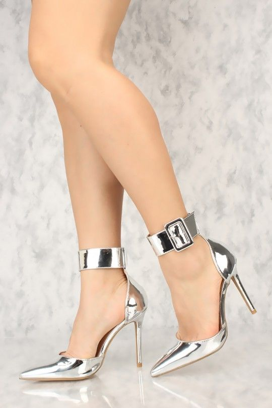 2c326e966dd Sexy Silver Pointy Toe Ankle Strap Single Sole High Heels Faux Leather High  Heel Pumps