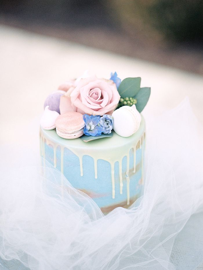 Pastel Drizzle Cake with Macarons and Flowers