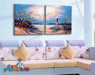 FF 013 Sea Pictures Rp 884.800,-  Canvas size: 60 x 120 utk sepasang (2 buah). 1 lukisan uk 60 x 60 Packaging size: 15,5 x 91 x 5 cm (setara 2 kg)  ALICE painting kit sudah termasuk - Kanvas pattern lukisan yg dibuat dr high grade cotton dengan tekstur halus. - Cat pigment warna yg ramah lingkungan, tidak beracun dan tidak cepat pudar. - Beberapa kuas nylon. - Kertas manual kode warna  Fyi, pls contact: Email: jjbigstore@yahoo.com We Chat, Kakao, Line: silvblue WhatsApp 0896-2860-9094