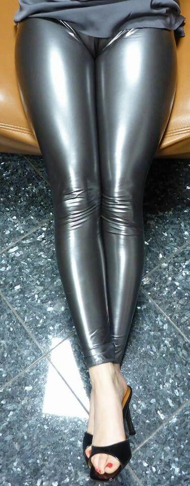 Silver latex leggings
