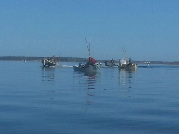 Oyster Tonging in Bedeque Bay on Prince Edward Island, in Atlantic Canada. http://peiflavours.ca/index.php/flavours-trail/type/category/Fishers/