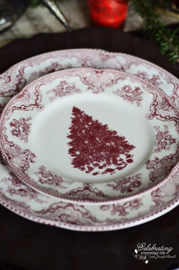 Breathtaking Red Transferware Christmas Tree plates