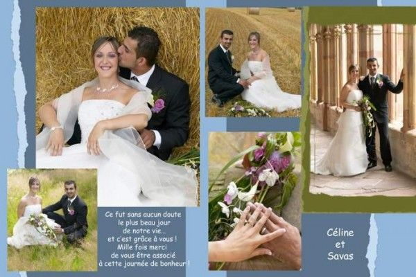 Remerciement mariage tissu de bleu – Carte remerciement mariage photo