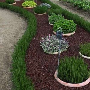 Now here's a great idea! Use grasses as garden edging! I bet it'd be far more effective at keeping landscape materials separate anyway.