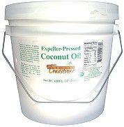 Photo of Organic Expeller-Pressed Coconut Oil - 1 gallon. Tropical Traditions Coconut Oil that is deodorized and perfect for cooking those special dishes and for people who prefer a more mellow taste.