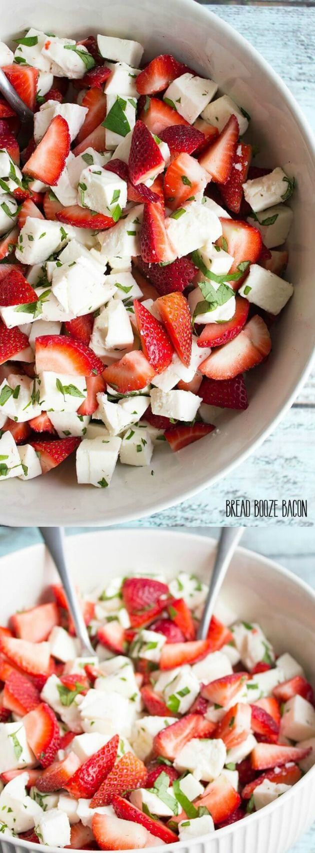 This Strawberry Caprese Salad recipe from Bread Booze Bacon will make you forget all about tomatoes! In fact, it has all the traditional caprese colors with a bright fruit twist that is perfect for summer.
