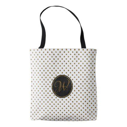 Rustic White Gold Glitter Polka Dots With Monogram Tote Bag - girly gifts special unique gift idea custom