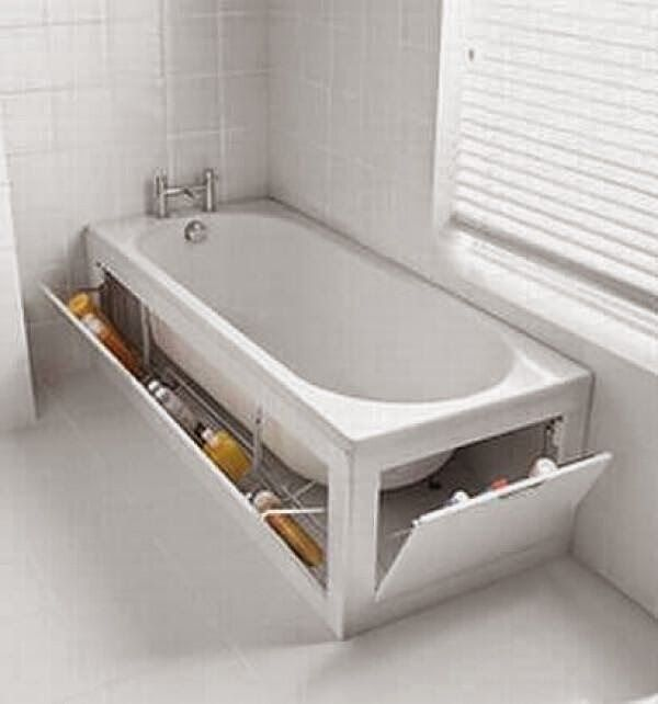 Great idea to add a bit of storage in the bathroom and get rid of the clutter that generally surrounds my tub.