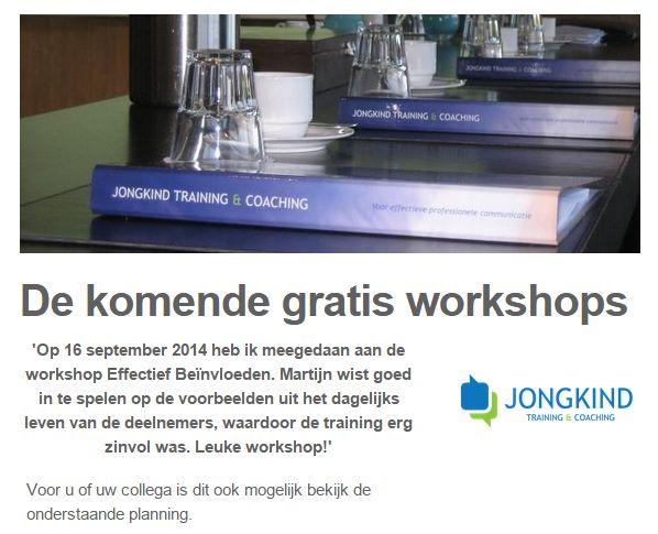 Maak middels een gratis workshop kennis met Jongkind Training & Coaching, de eerstvolgende heeft als thema: 'Effectief Leidinggeven'. Voor meer info zie http://eepurl.com/6QodX