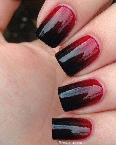 une manucure ombre rouge sang
