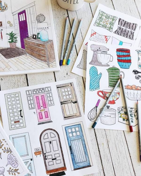 24 best The Inspired Room - Interior Design Coloring Book images on ...