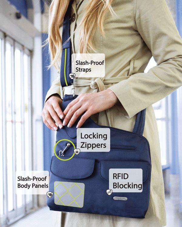 Travelon anti theft cross body shoulder bag, travel bag, travel gear, security purse