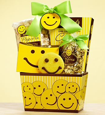12 for $12 Happy Face Gourmet Cookie Sampler- buttercream frosted cookies, chocolate chip cookies and more, 2 famous buttercream frosted Happy Face cookies decorated with sweet chocolate smiles. $12.00: Gift Baskets, Deliv Smile, Gifts Baskets, Gifts Ideas, Smile Gifts, Yellow Smiley, Smiley Faces, Fun Gifts, Smiley Gifts