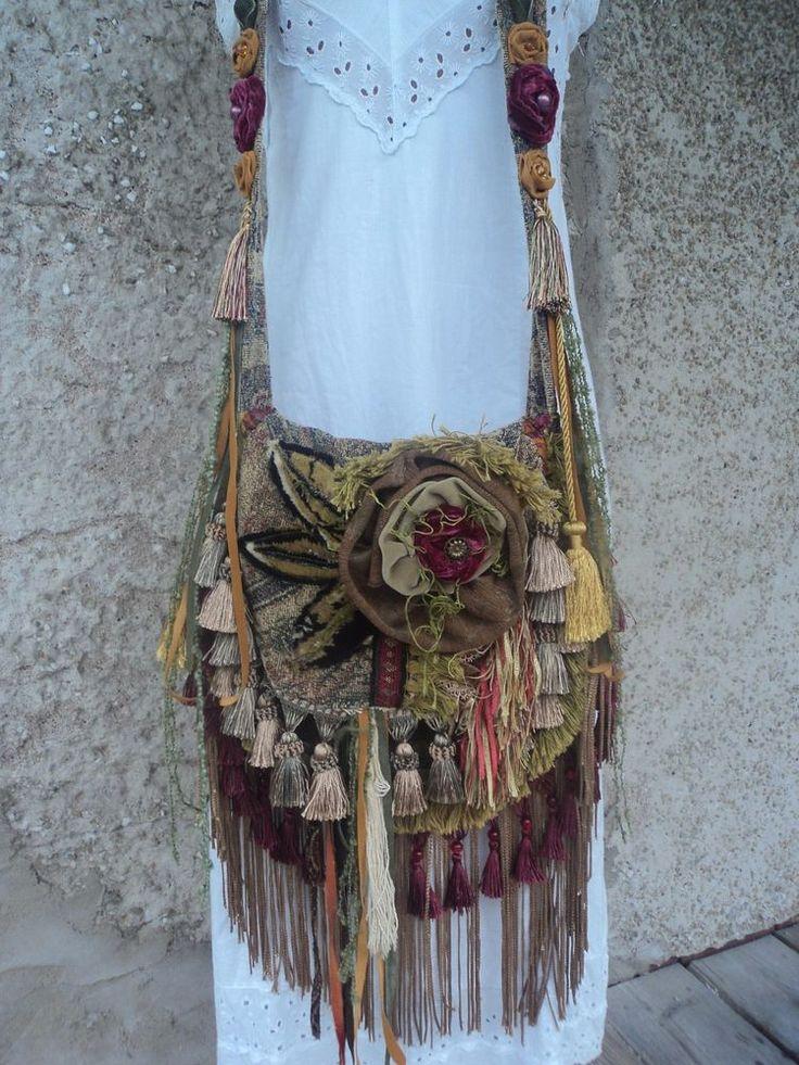 Handmade Boho Artisan CrossBody Bag Hippie Gypsy Shabby Chic Fringe Purse tmyers #Handmade #MessengerCrossBody