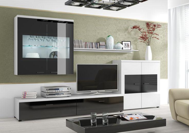 Obývacia stena Flash (čierny lesk /biela)