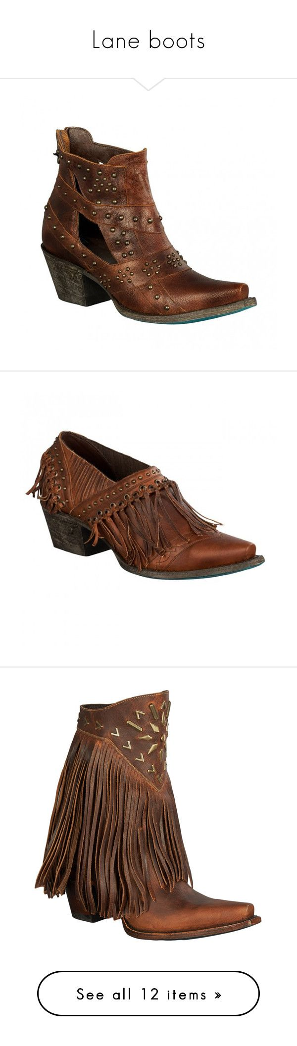 """Lane boots"" by vesper1977 ❤ liked on Polyvore featuring shoes, boots, brown, mid-calf boots, ankle cowboy boots, fringe ankle boots, brown leather boots, brown ankle boots, brown cowboy boots and ankle booties"