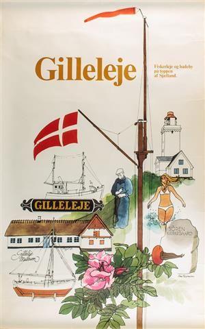 Uindrammet plakat med motiv fra Gilleleje tryk: Vang Rasmussen. Mål H. 100 x 62…