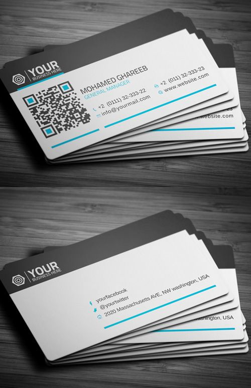 Creative Corporate Business Card #businesscards #corporatedesign #businesscarddesign #psdtemplates