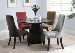 Amhurst Black Satin Dining Table W 4 Red Brick Chairs