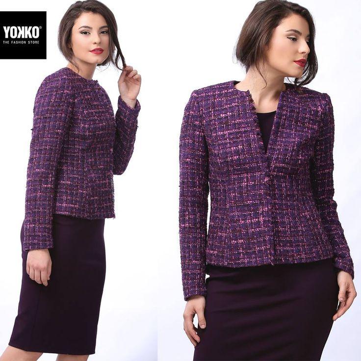 🌸 Din lana virgina si bumbac, sacoul FANNY YOKKO | fall16 #wool #cotton #violet #jacket #fall #women #fashion #yokkoinspiration