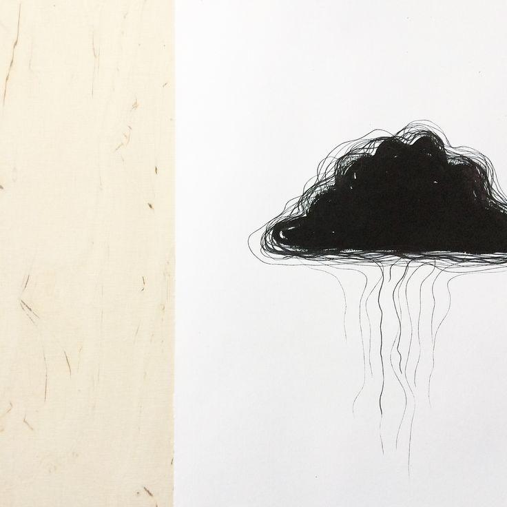 Drawing. Black ink. Cloud drawing. Sketch. By Johanna Sandberg.
