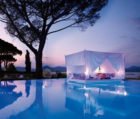 #travel: Outdoor Beds, Floating Beds, Paris France, Outdoor Bedrooms, Floating Canopies, Pools Beds, Canopies Beds, Trees Swings, Heavens