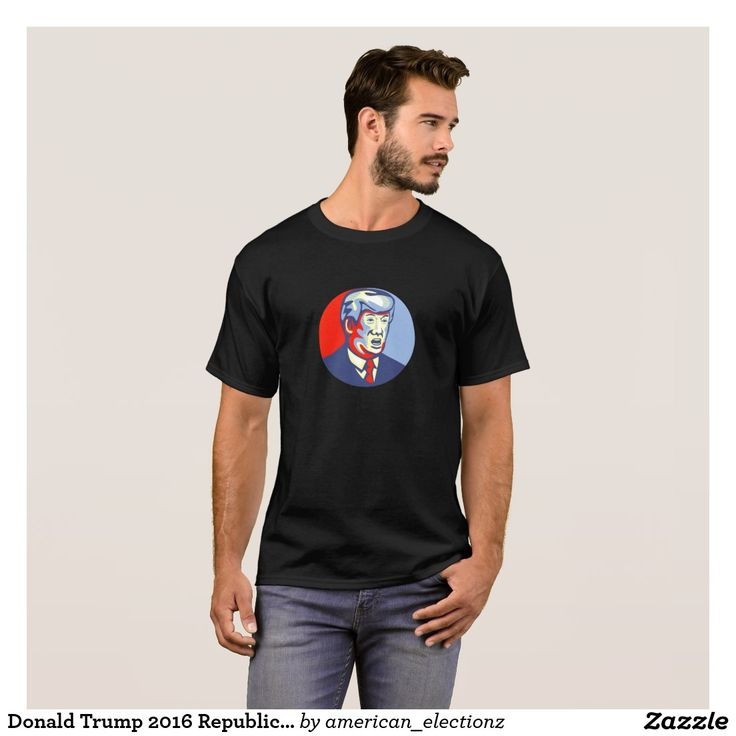 Donald Trump 2016 Republican Candidate T-Shirt. 2016 American elections men's t-shirt with an illustration showing American real estate magnate, television personality, politician and Republican 2016 presidential candidate Donald John Trump set inside circle isolated background done in retro style. #Trump2016 #republican #americanelections #elections #vote2016 #election2016