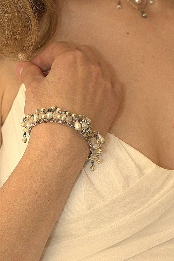 Bridal BraceletPearls Wedding by mylittlebride on Etsy