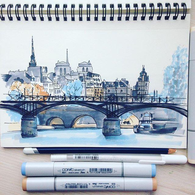 Мост искусств в Париже. Я никогда не была в этом городе, но очень хочу туда попасть. Побродила в панорамах Гугл карт и нашла этот мост. Пусть моя мечта исполнится! Ведь если мечту визуализировать, то ей легче воплотиться :) А о чем мечтаете вы? #экстримскетчинг #extremesketching #экстримскетчинг2 #extremesketching2 #kalachevaschool #школавероникикалачевой #sketch #sketchbook #sketching #copic #копики #набросок #маркеры #markers #illustration #illustrator #illustrationartists #хочурисовать…