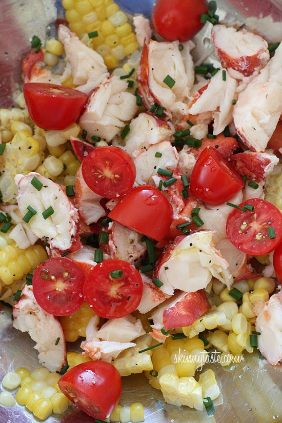 Chilled Lobster (crab or shrimp) Salad with Sweet Summer Corn and Tomatoes | Skinnytaste-seafood meat, fresh corn, grape tomatoes, lemon juice & olive oil.