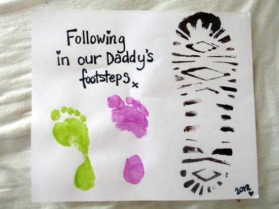 Father's Day Craft - kid's footprints and daddy's shoe print!