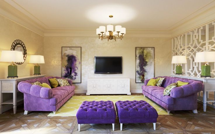 гостиная с фиолетовой мебелью дизайнер Наталья  Наумова