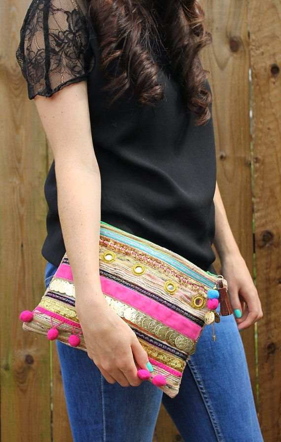 Ethnic Embellished Gold Coin Clutch Bag by RENIQLO on Etsy, £25.00