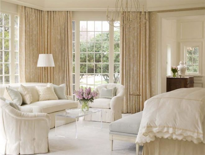 Nice drapery, wall coverings, and color scheme.  A master bedroom interior by Phoebe Howard from Joy of Decorating